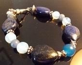 Egyptian Lapis Lazuli, South American Blue Topaz, and Moonstone Bracelet