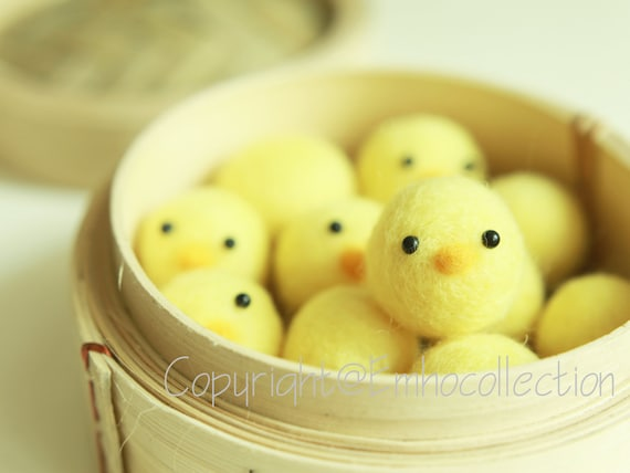 Needle Felted 8 Baby Chicks in Bamboo Steam Cooker - Holiday Gift - Ready to Ship