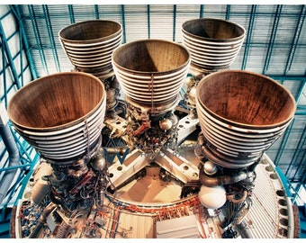Aviation Photography, Nasa Saturn V Rocket Nozzles, Metallic Photographic Print