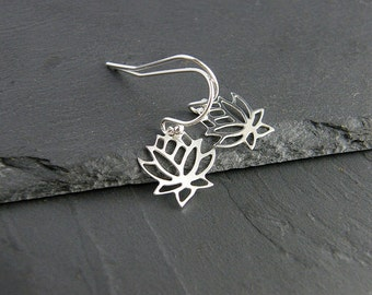 Silver Lotus Earrings, Sterling silver lotus, Sterling Silver Earrings, Lotus Earrings, Silver Lotus Flower, Lotus Jewelry, Simple Earrings