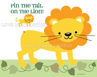 Lion Pin the Tail on the Lion game INSTANT DOWNLOAD You PRINT