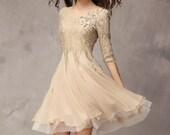 Khaki / Pink / Blue / Red / Blakc / White Chiffon lace dress wedding dress  womens dress long sleeve dress fashion dress long dress ---WD094