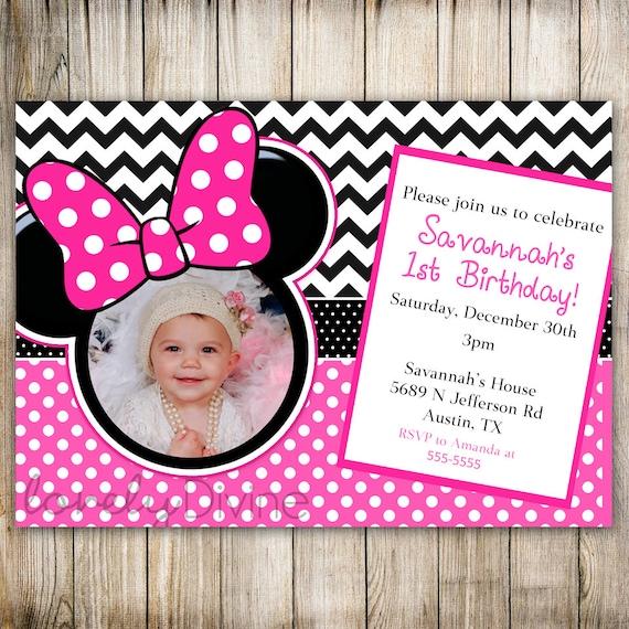 Minnie Mouse Chevron Birthday 1st Birthday Invitation 2nd