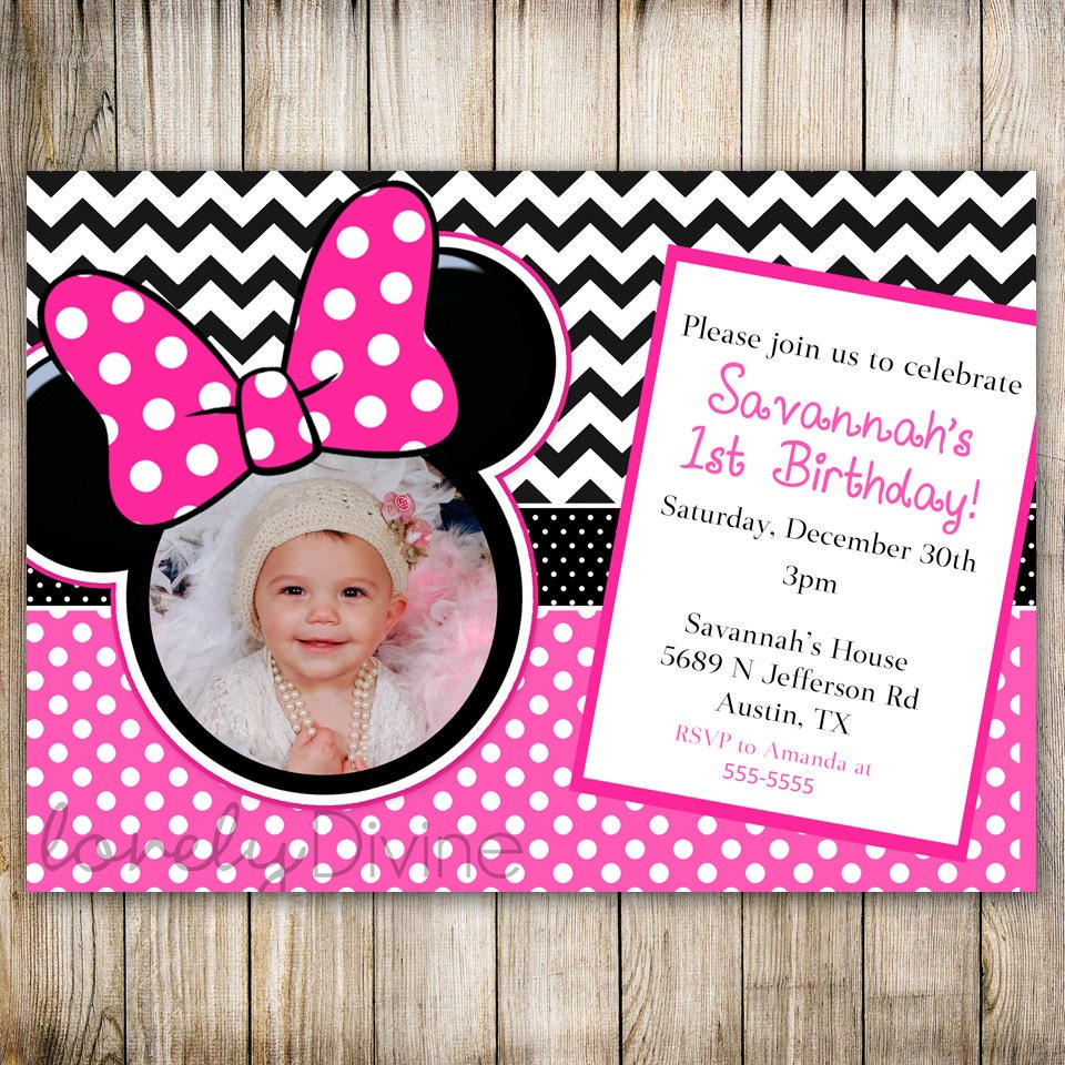 Minnie Mouse Chevron Birthday 1st Birthday Invitation 2nd