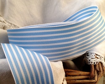 warm powder blue and white striped grosgrain ribbon