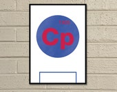 "Essential Elements: ""Crystal Palace"" A4 Football Print in blue and red."
