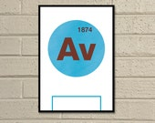 "Essential Elements: ""Aston Villa"" A4 Football Print in claret, blue and white."