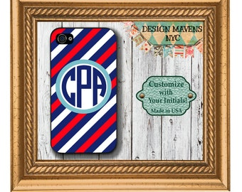 Preppy USA Stripe Monogram iPhone Case, Patriotic iPhone Case, Personalized iPhone Case, iPhone 4, 4s, iPhone 5, 5s, 5c, iPhone 6