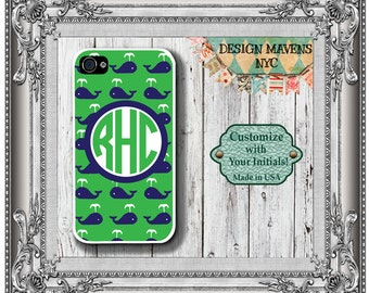 Preppy Whale iPhone Case, Nautical iPhone Case, Personalized Monogram iPhone Case, iPhone 7, 7 Plus, iPhone 6, 6s, 6 Plus, SE, 5, 5s, 5c, 4