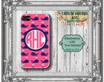 Preppy Whale Monogram iPhone Case, Nautical iPhone Case, iPhone 4, 4s, iPhone 5, 5s, 5c, iPhone 6, 6s, 6 Plus, SE, iPhone 7, 7 Plus