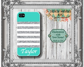 Personalized iPhone Case, Preppy Glitter Stripe Monogram iPhone Case, iPhone 4,4s, iPhone 5, 5s, 5c, iPhone 6, 6s, 6 Plus, SE, iPhone 7.
