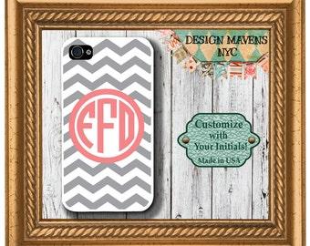 Preppy Grey Chevron Coral Monogram iPhone Case, Personalized iPhone Case, iPhone 4, 4s, iPhone 5, 5s, 5c, iPhone 6, 6 Plus, Phone Case