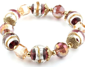 Plum Murano Glass Beaded Stretch Fashion Bracelet with Gold Bead caps