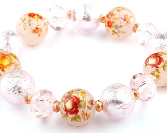 Pink Floral Murano Glass Beaded Stretch Fashion Bracelet