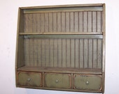 Primitive Plate Rack with 3 Drawers and Beadboard Back - Color Choice - FREE SHIPPING