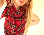 Warm Triangle Winter Wool Tartan Scarf - Rec