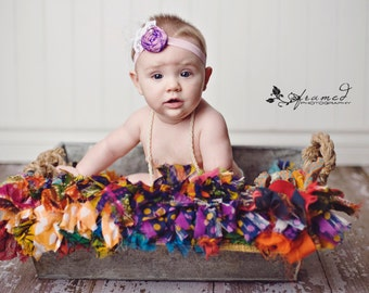 Newborn Headband, Single Purple Rosette Headband, Baby Accessory, Girls Hair Accessory, Shabby Chic Headband, Newborn Photo Prop,