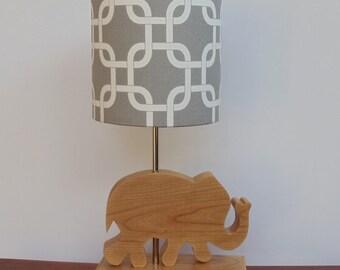 Small Grey/White Gotcha Fabric Drum Lamp Shade