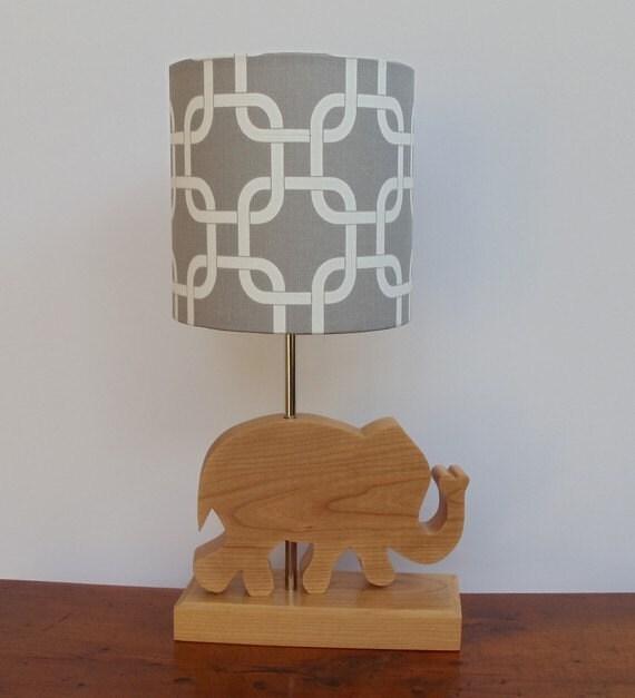 small grey white gotcha fabric drum lamp shade. Black Bedroom Furniture Sets. Home Design Ideas