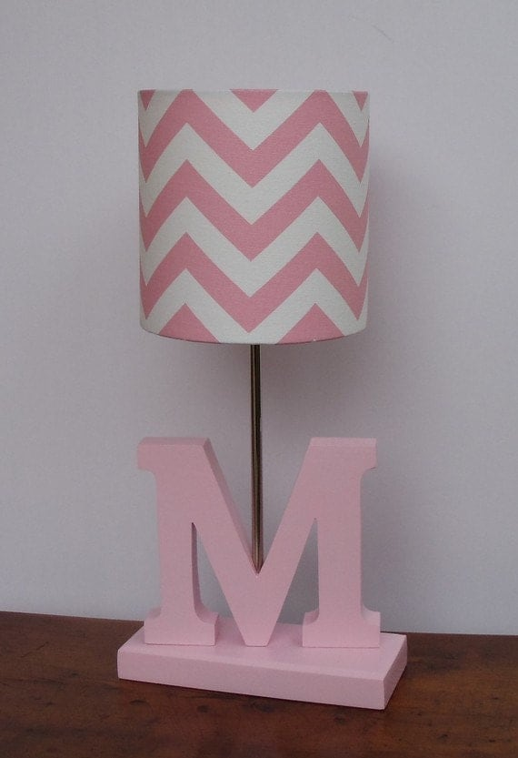 Small Baby Pink White Chevron Drum Lamp Shade Nursery Or