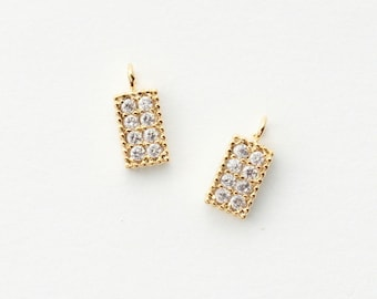 3246011 / Rectangle / 16k Gold Plated Brass with CZ Pendant 4.1mm x 9.2mm / 0.3g / 2pcs