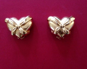 Carolee Vintage Puffed Gold Heart Earrings
