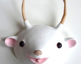 """Sculpture white faux taxidermy """"Barbie"""" (unique, original), mask"""
