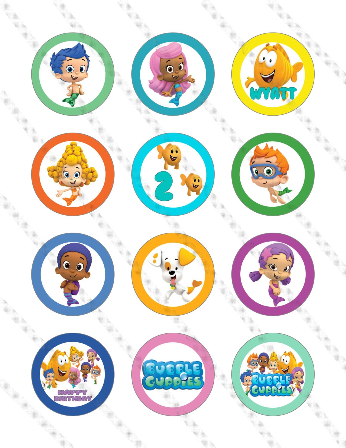 bubble guppies birthday party 2 inch cupcake toppers digital