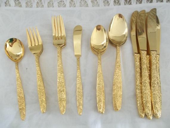 Vintage Gold Flatware Set Bouquet Pattern Gold Electroplate