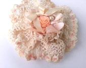 Handmade Lace Hairclip Mori Girl brooch Rustic Accessory Ecru Shabby Chic Jewelry
