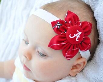 Free Shipping! University of Alabama fabric flower baby headband