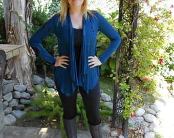 Tie Dye Cardigan, Tie Dye, Cardigan, Rayon Cardigan, Cardigans, Womens Clothng, Teal blue with Black, XS S M L XL 2X 3X, shorter in the back