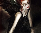 Of a Shadowed Realm--Gothic style portrait of dark angel with mask and wings.