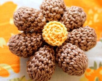 Brown and Yellow Crochet Flower Appliqué x 2