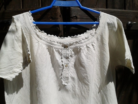 Linen Dress Handmade Unused 1900's French Monogram Embroidered Ruffled Buttons Lace Trimmed White-Size: Medium Large - Vintage Natural Dress
