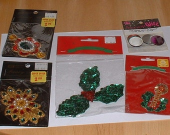 Five Fancy & Ornate Jewel Appilques with Beaded Rhinestones Sequins Designs Never Opened on cards 1990's