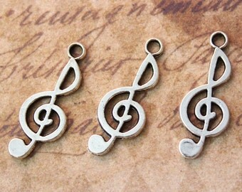 10 Music Note Charms Note Sign Pendant Antiqued Silver Tone Double Sided 10 x 22mm
