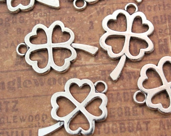 10 Four Leaf Clover Charms Leaf Pendants Antiqued Silver Double Sided 18 x 25 mm