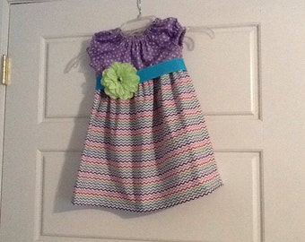 Chevron Peasant Dress size 3, colorful, summer, with attached flower