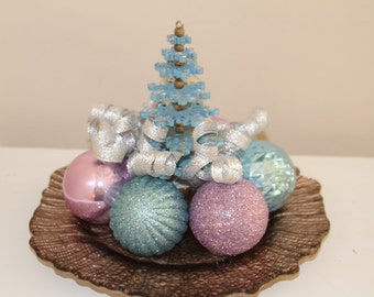 Christmas Tree Centerpiece - Lavendar and Light Blue Holiday Decoration