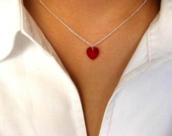 Sterling Silver Dainty Necklace with Swarovski Crystal Heart Pendant - heart necklace - Swarovski heart necklace - gift under 25