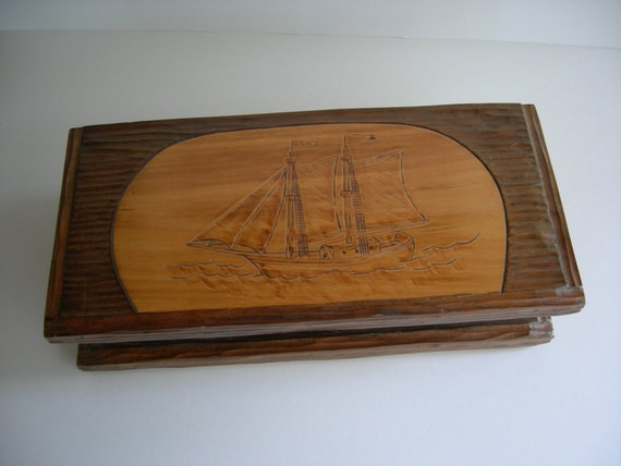 Vintage Hand Carved / Crafted, Ship Motif, Display Box, Jewelry Box, Trinket Box, Valet Box, from Thomaston, Maine State Prison