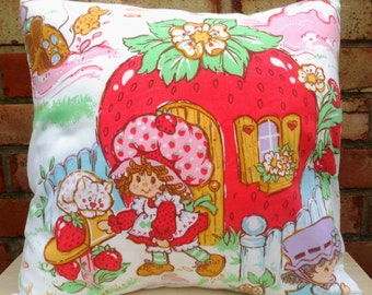 Strawberry Shortcake Vintage Fabric Cushion -  Handmade by Alien Couture