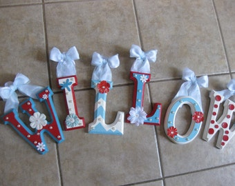 "CUSTOM 6"" X 4"" Blue and Red Wooden Hanging Wall Letters for Nursery or Child's Bedroom - Designed by a Professional Artist"