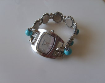 Double Stranded Interchangeable Turquoise & Silver Beaded Watch Band Set (162)