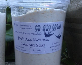 Joy's Laundry Soap Powder (made with homemade soap)  & wooden measuring scoop