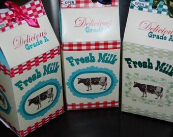 Farm / Barnyard Theme Milk Carton Favor Boxes (personalized & diy - choose color)