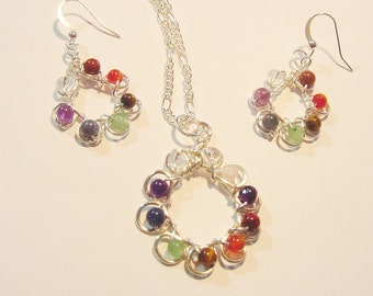 Chakra  Pendant and Earrings Set, Semi Precious Stones, Wire Wrapped, Sterling Silver Upgrade, Reiki Jewelry, Gift Idea