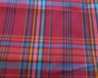 "Vintage Plaid Light Weight Cotton Fabric 84"" x 45"""
