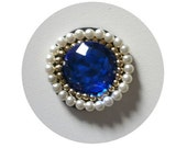 Blue circle applique - faux sapphire blue, white and gold pearls - Handmade applique